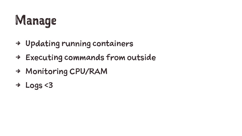 Manage 4 Updating running containers 4 Executin...