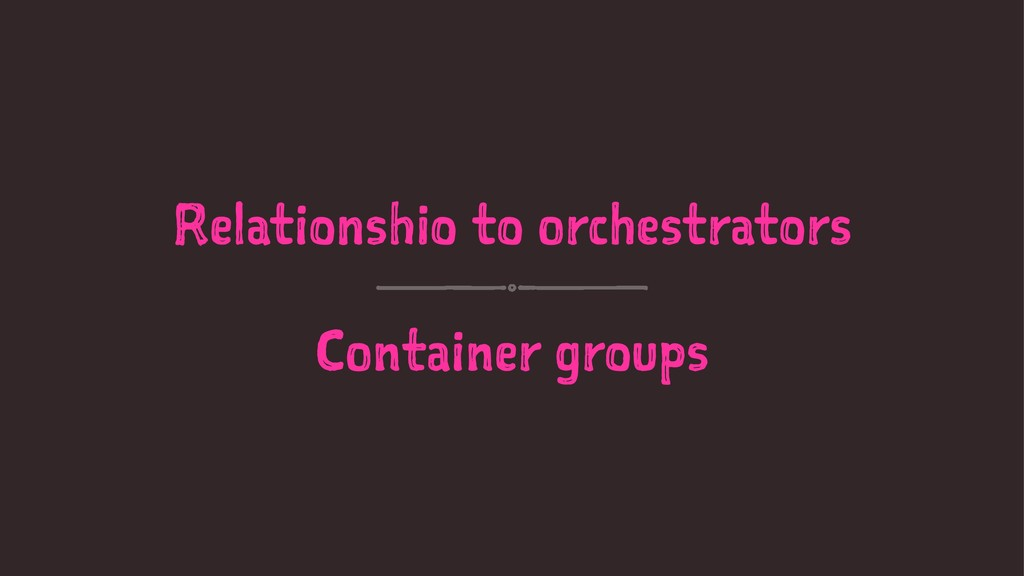 Relationshio to orchestrators Container groups