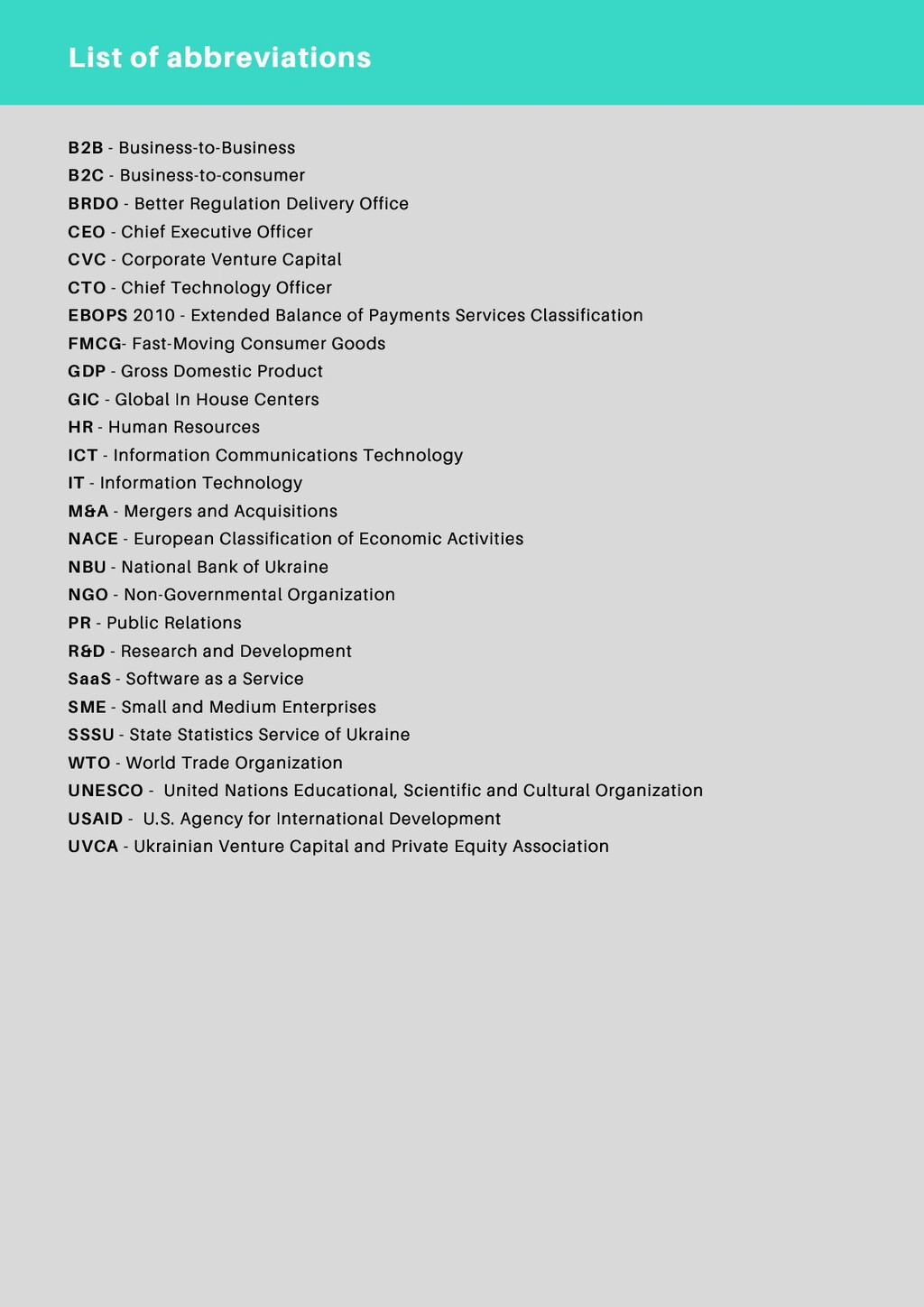 List of abbreviations B2B - Business-to-Busines...