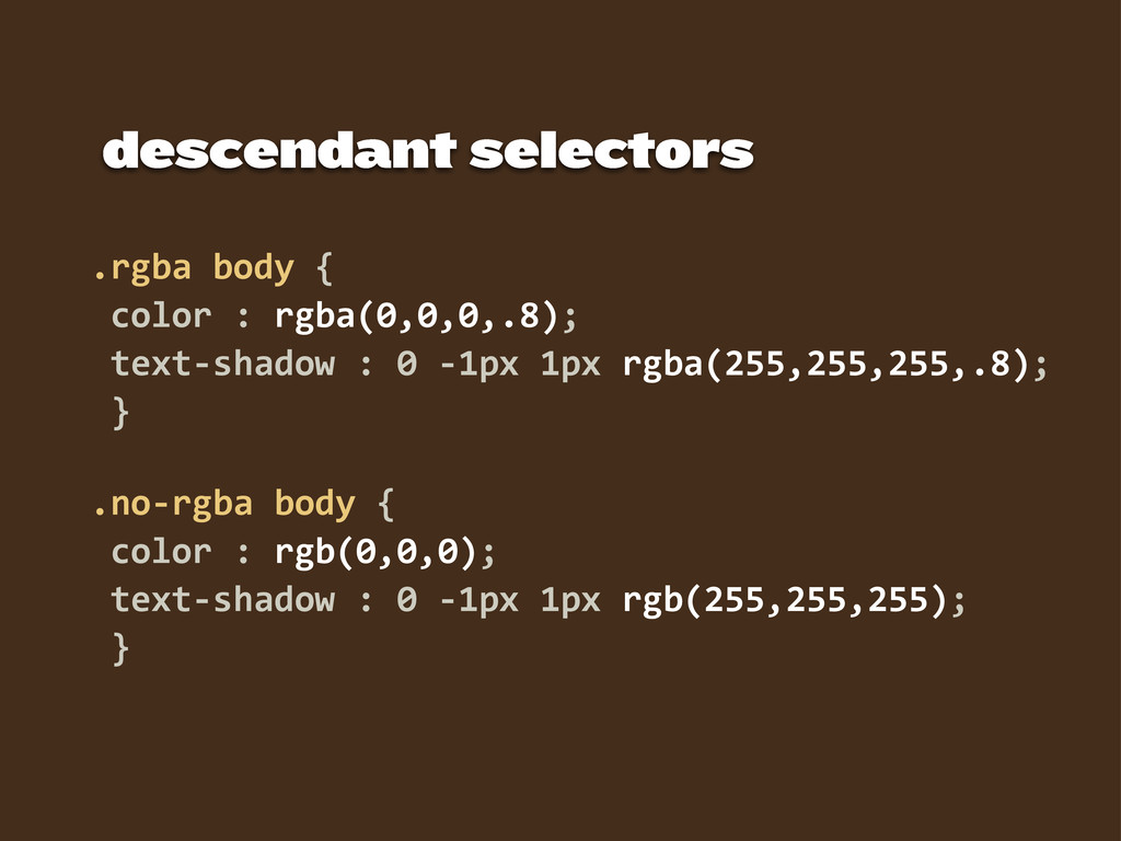 descendant selectors .rgba  body  {   color  : ...