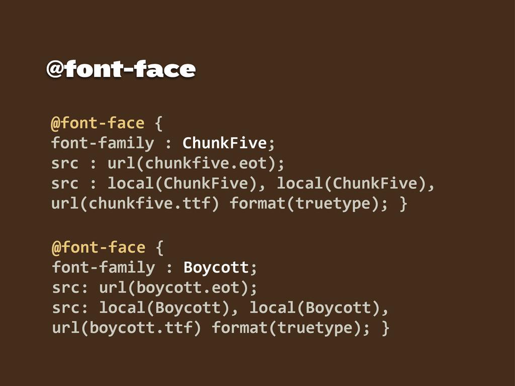 @font-‐face { font-‐family : Boycott; src:...