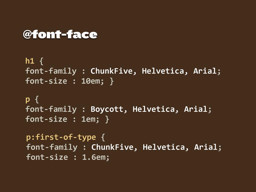 h1 {  font-‐family : ChunkFive, Helveti...