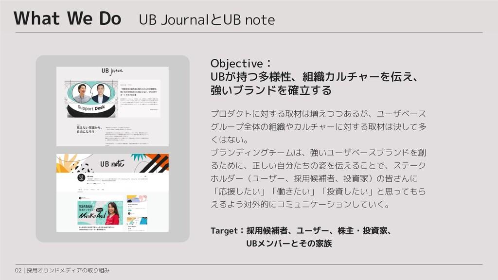 What We Do UB JournalとUB note 02 | 採用オウンドメディアの取...