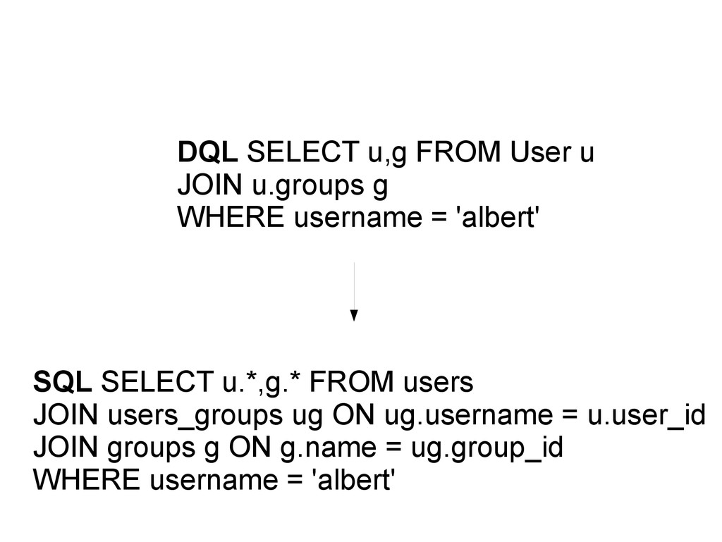 DQL SELECT u,g FROM User u JOIN u.groups g WHER...