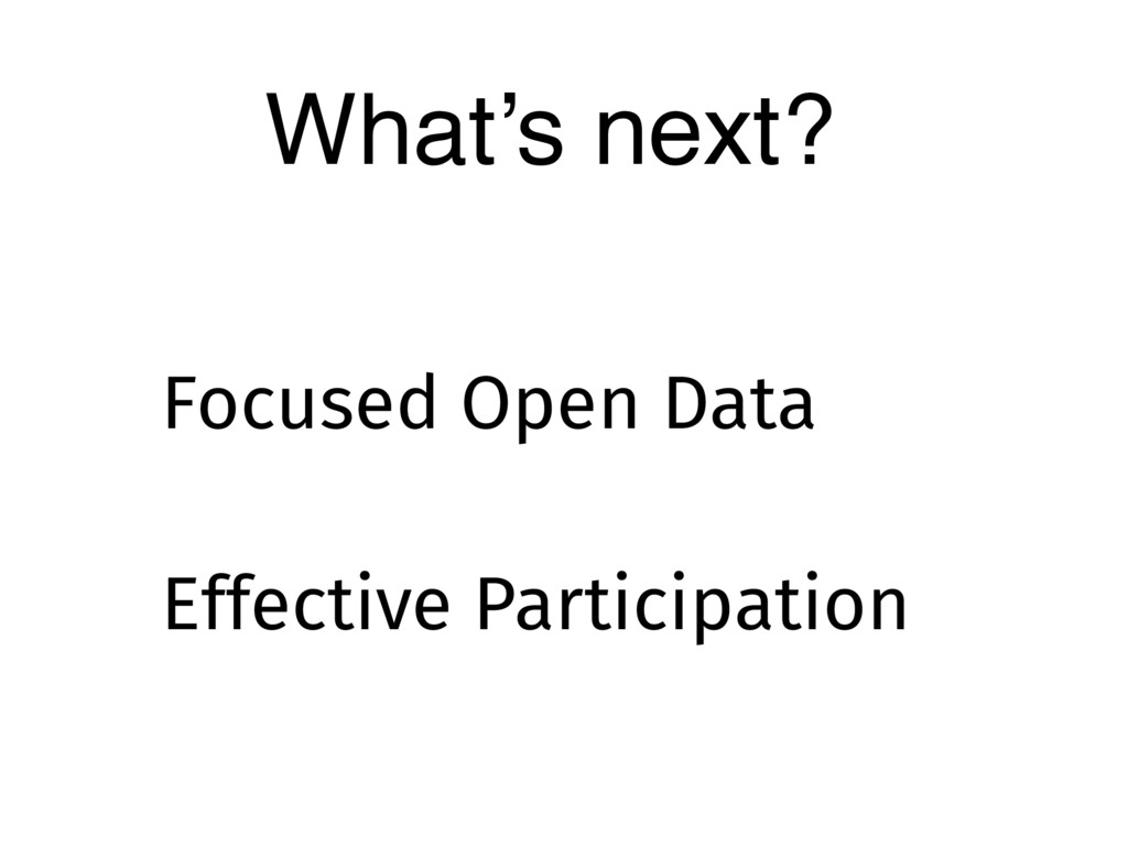 What's next? Effective Participation Focused Op...