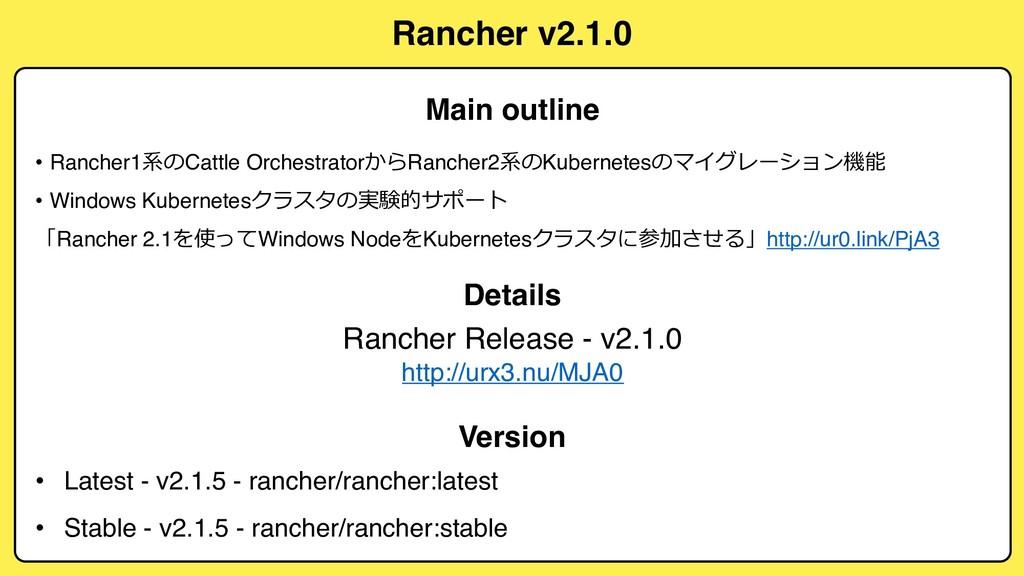 Rancher v2.1.0 • Rancher1$ Cattle Orchestrator...