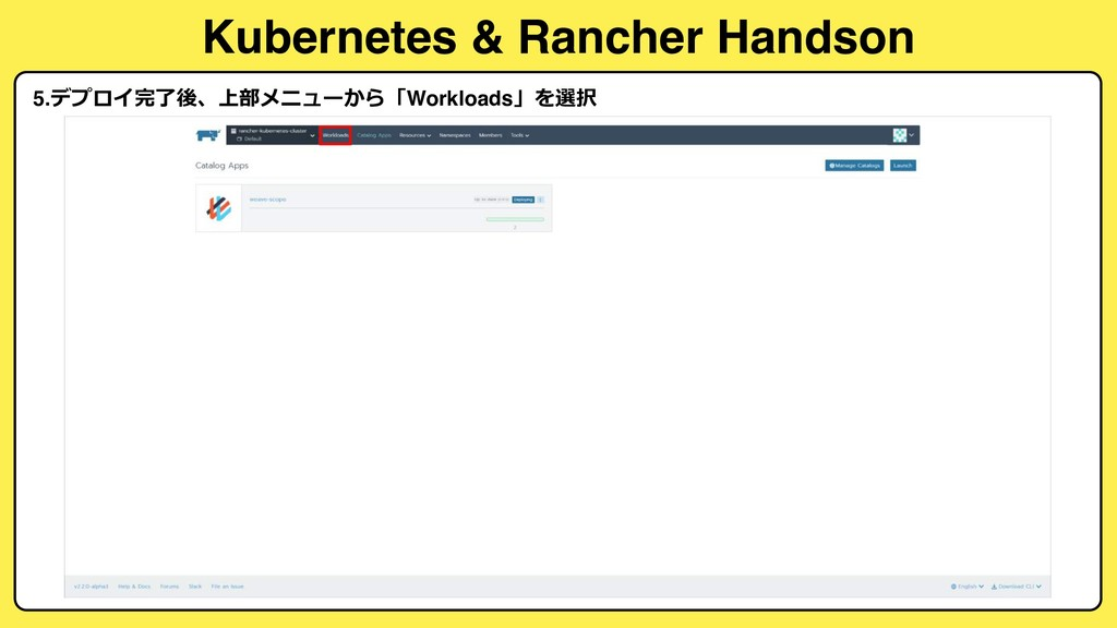 Kubernetes & Rancher Handson 5.  ...