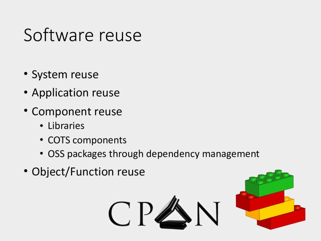 Software reuse • System reuse • Application reu...