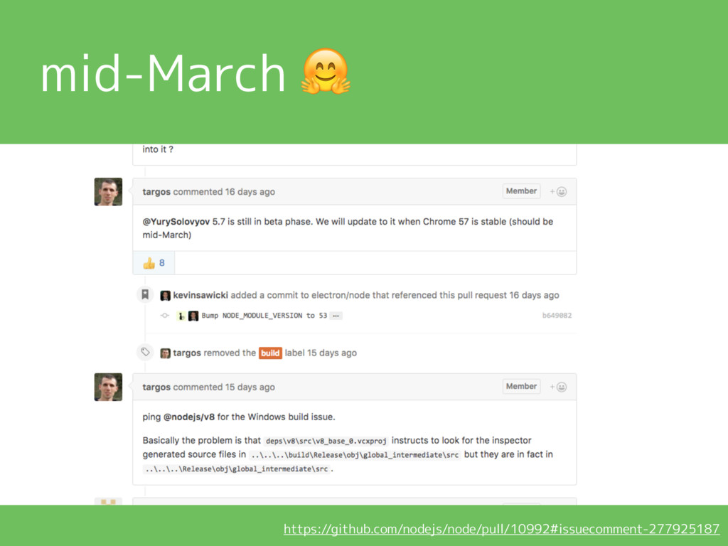 mid-March  https://github.com/nodejs/node/pull/...