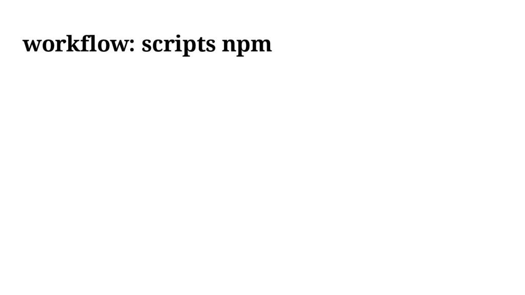workflow: scripts npm