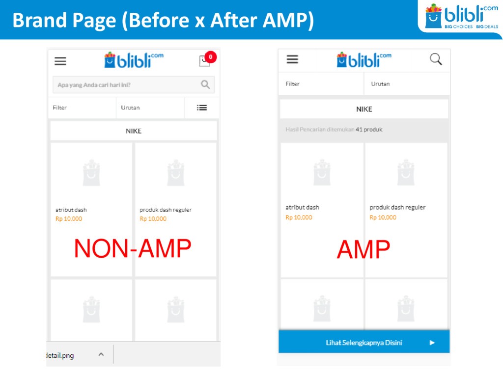 Brand Page (Before x After AMP) NON-AMP AMP