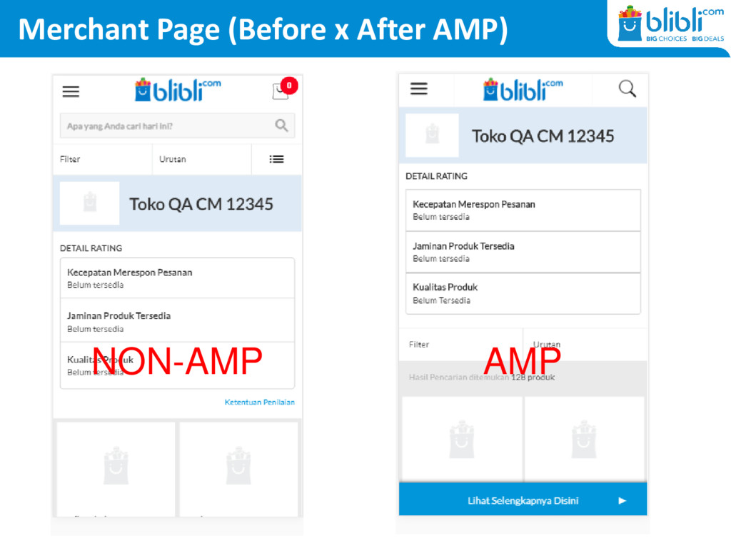 Merchant Page (Before x After AMP) NON-AMP AMP