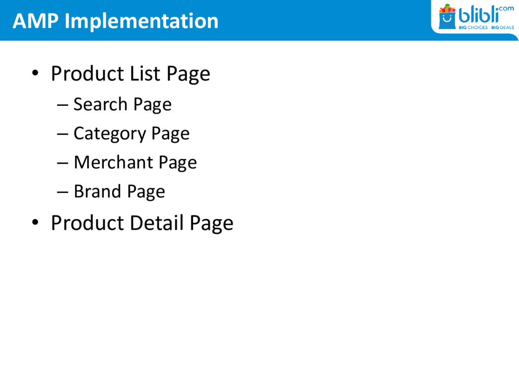 AMP Implementation • Product List Page – Search...
