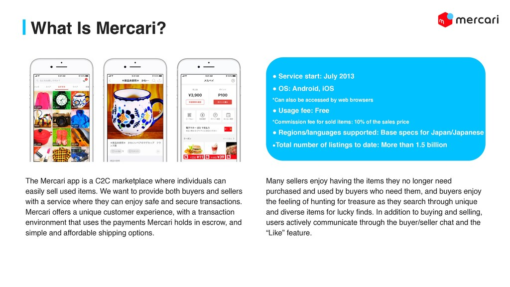 What Is Mercari? ! Service start: July 2013 ! O...