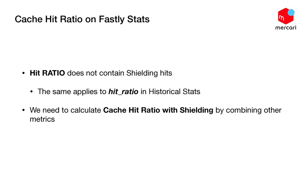 Cache Hit Ratio on Fastly Stats • Hit RATIO doe...