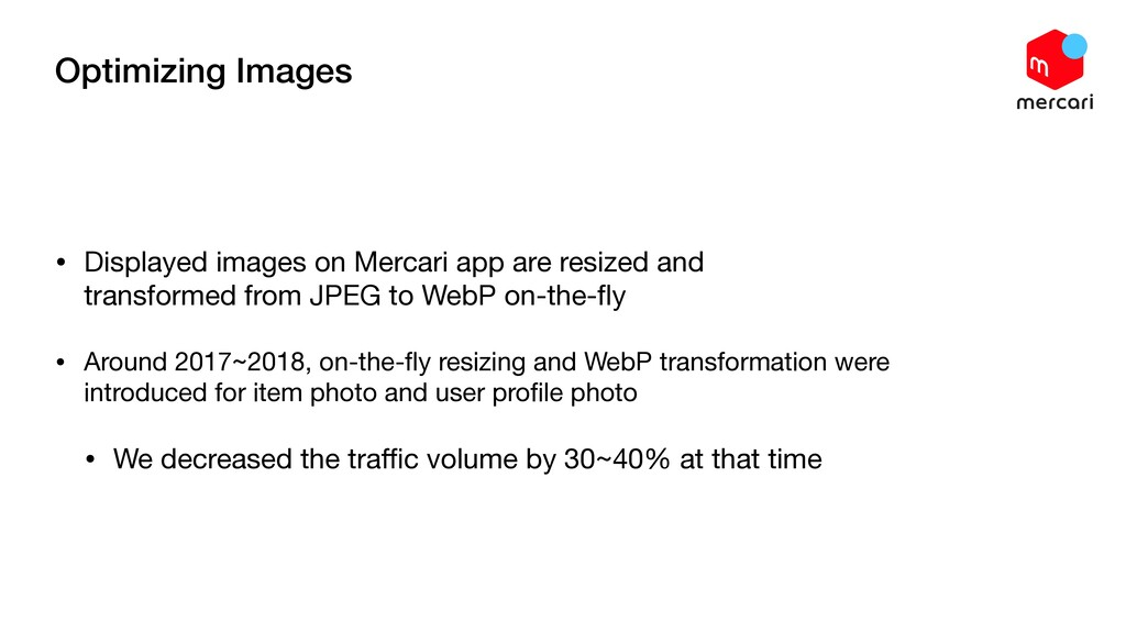Optimizing Images • Displayed images on Mercari...