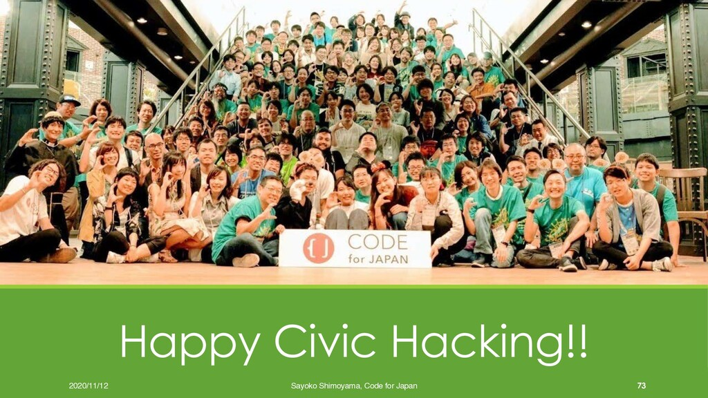 Happy Civic Hacking!! 73 2020/11/12 Sayoko Shim...