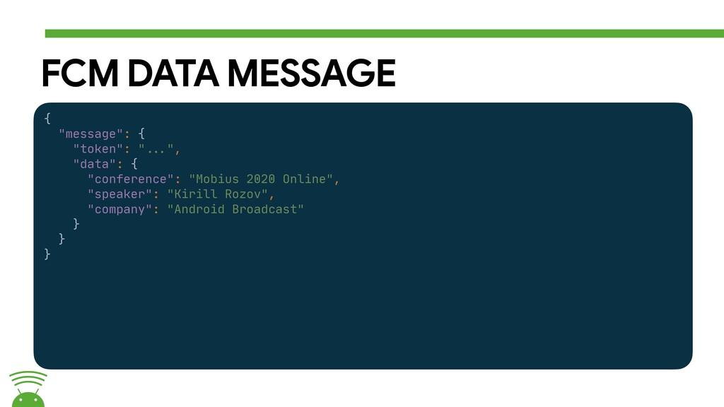 """FCM DATA MESSAGE {  """"message"""": {  """"token"""": """"##E..."""