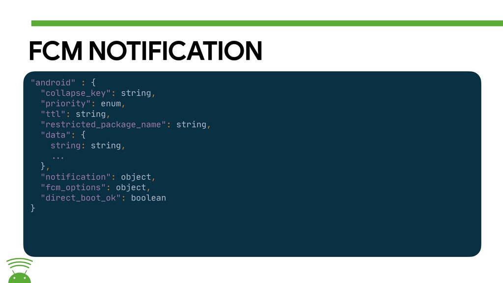 """FCM NOTIFICATION """"android"""" : {  """"collapse_key"""":..."""