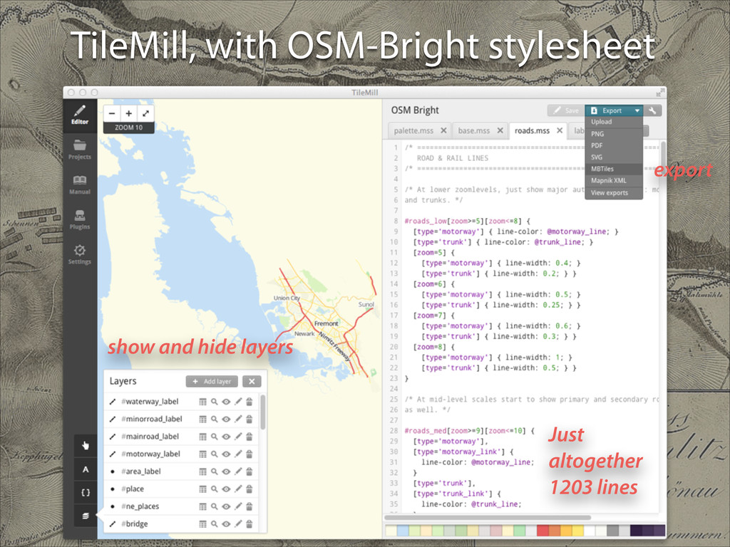 TileMill, with OSM-Bright stylesheet show and h...