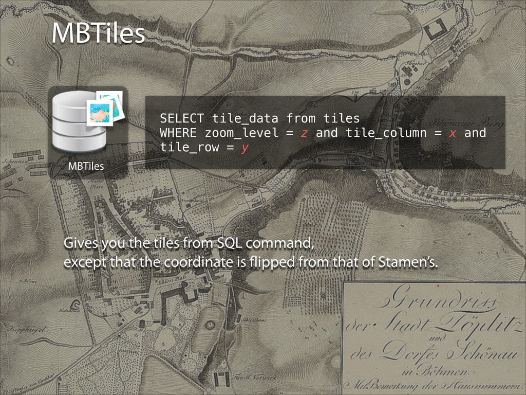 MBTiles SELECT tile_data from tiles WHERE zoom_...