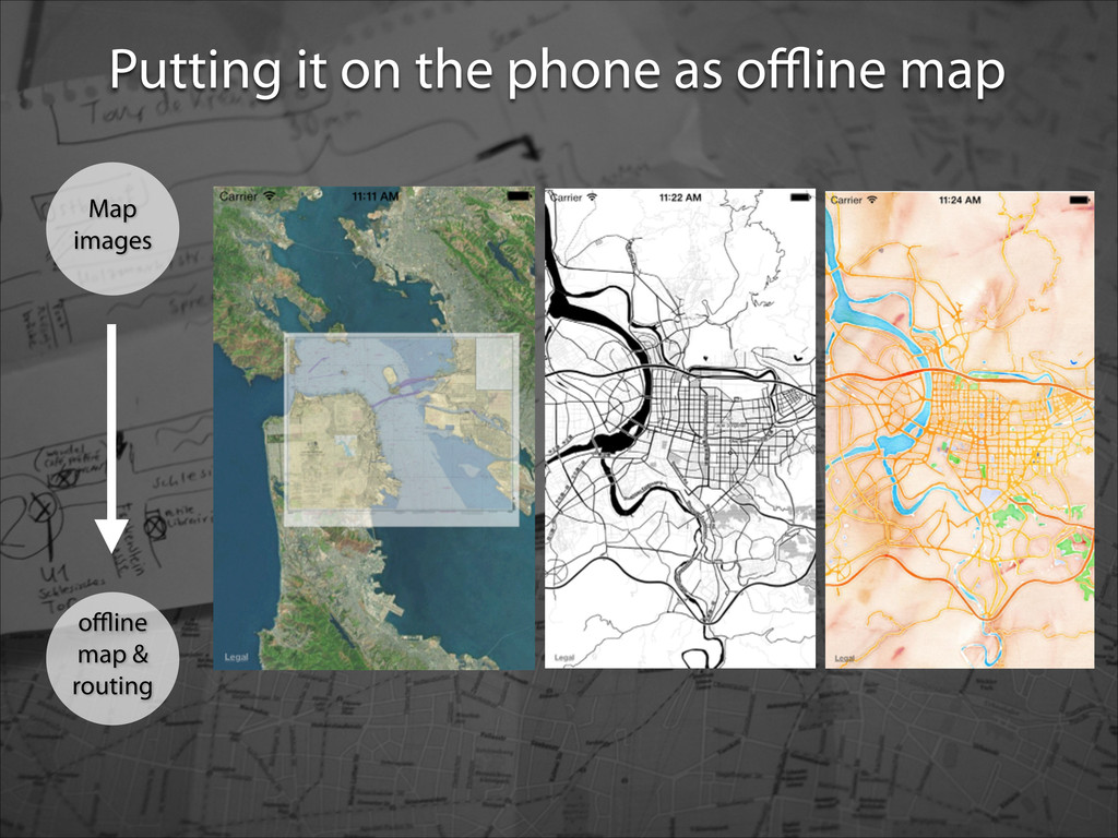 Putting it on the phone as offline map Map images...