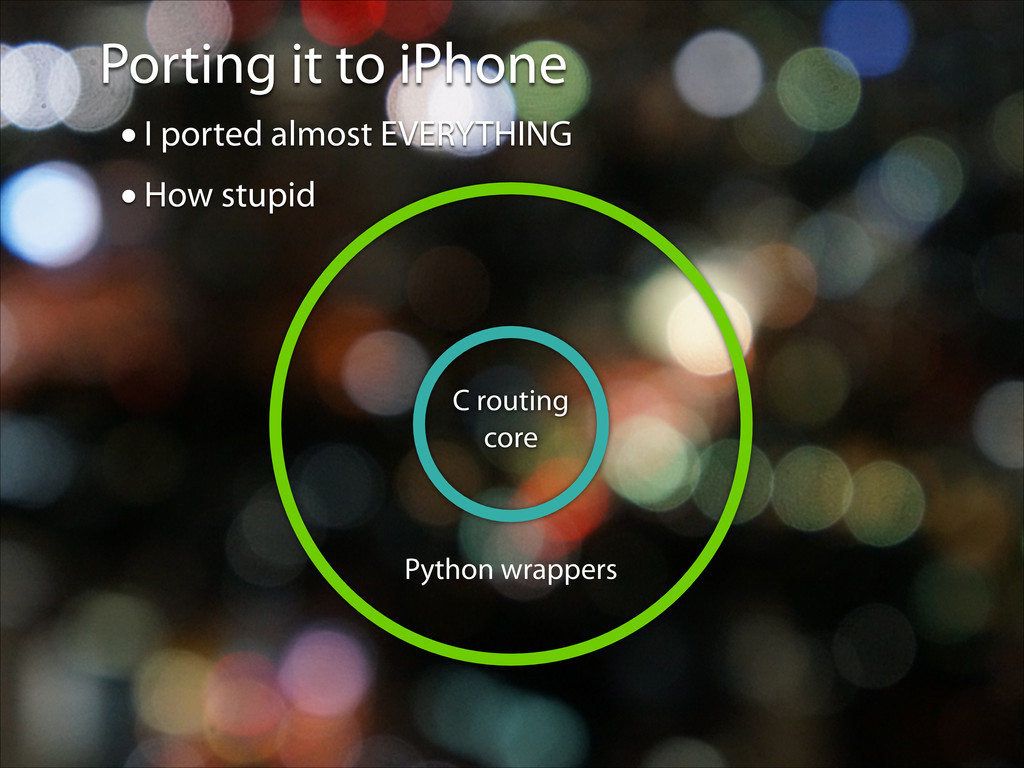 Porting it to iPhone Python wrappers C routing ...