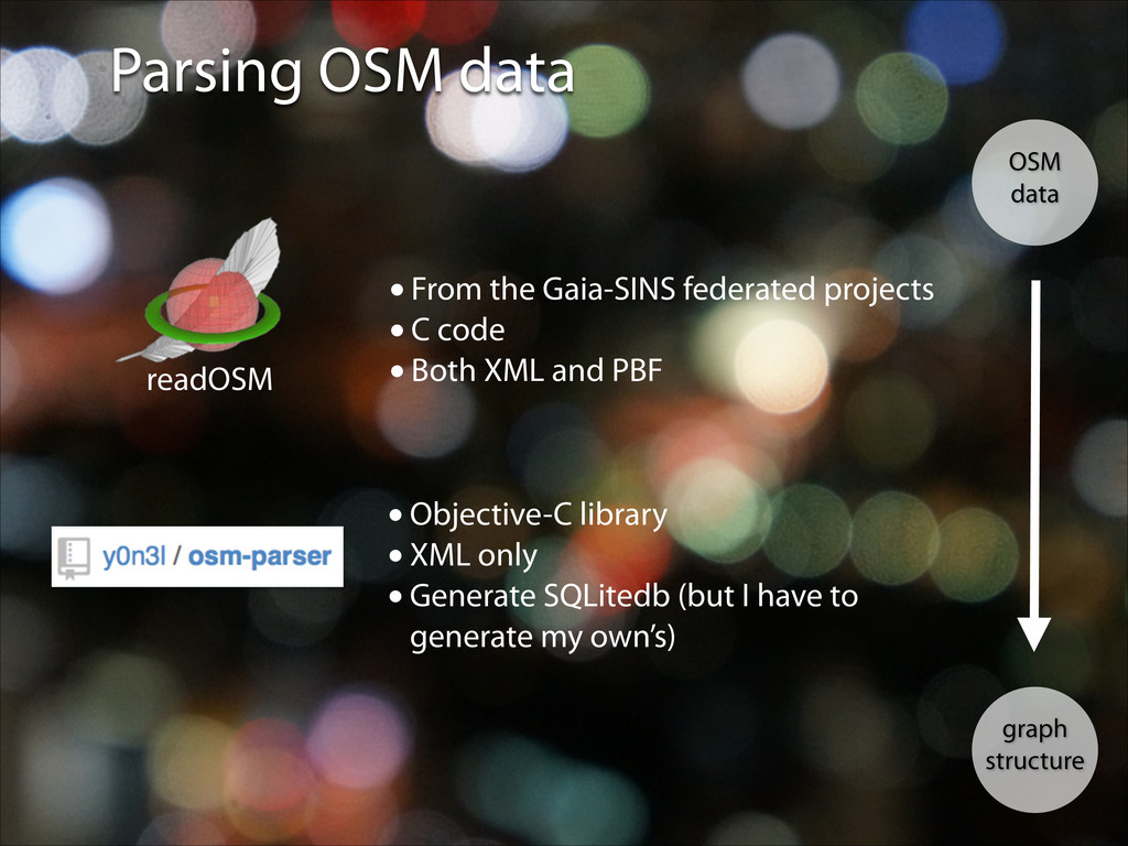 Parsing OSM data OSM data graph structure •From...