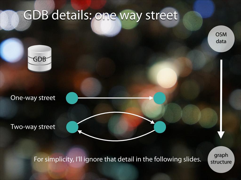 GDB details: one way street OSM data graph stru...