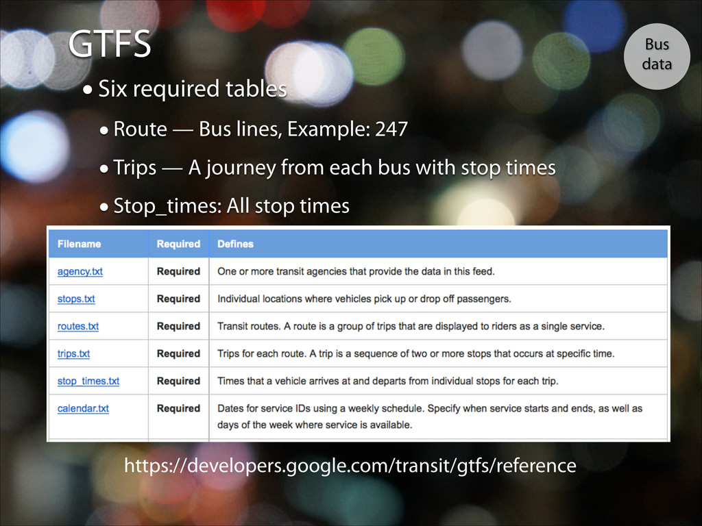 GTFS Bus data •Six required tables •Route — Bus...