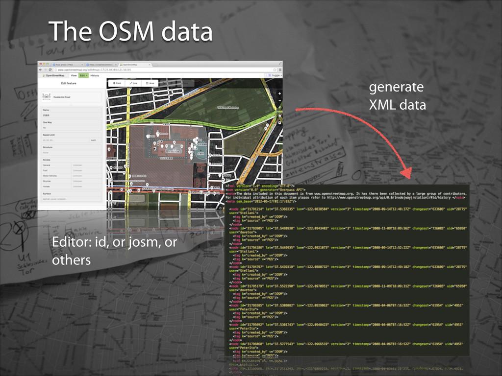 OSM data The OSM data Editor: id, or josm, or o...