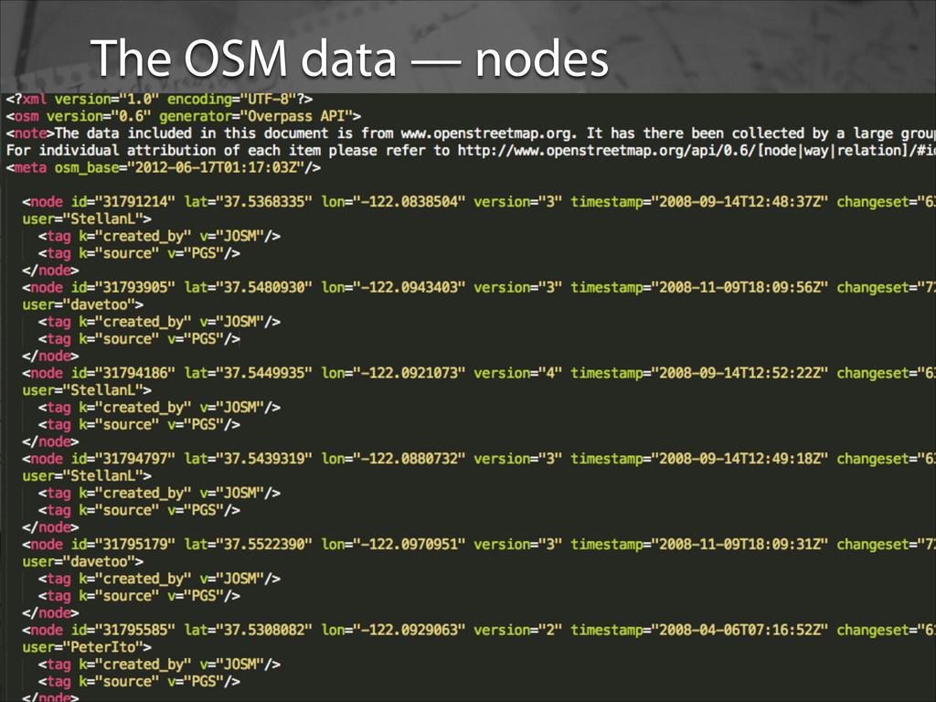 OSM data The OSM data — nodes