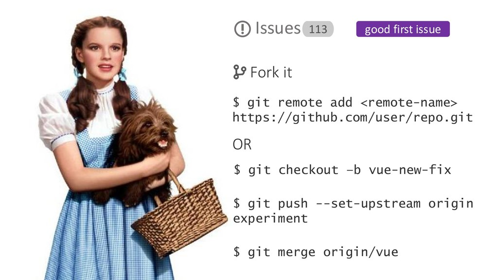 Issues good first issue $ git checkout –b vue-n...