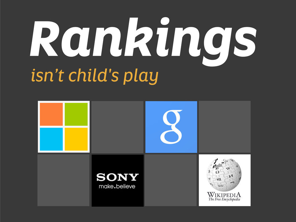 Rankings isn't child's play