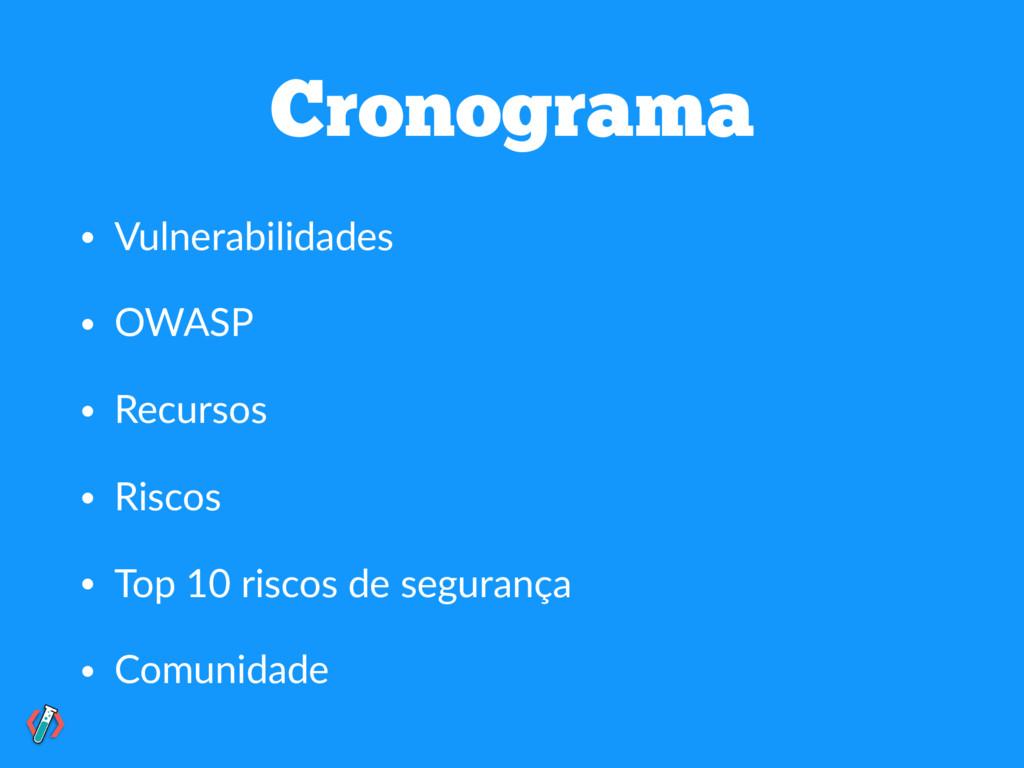Cronograma • Vulnerabilidades • OWASP • Recurso...
