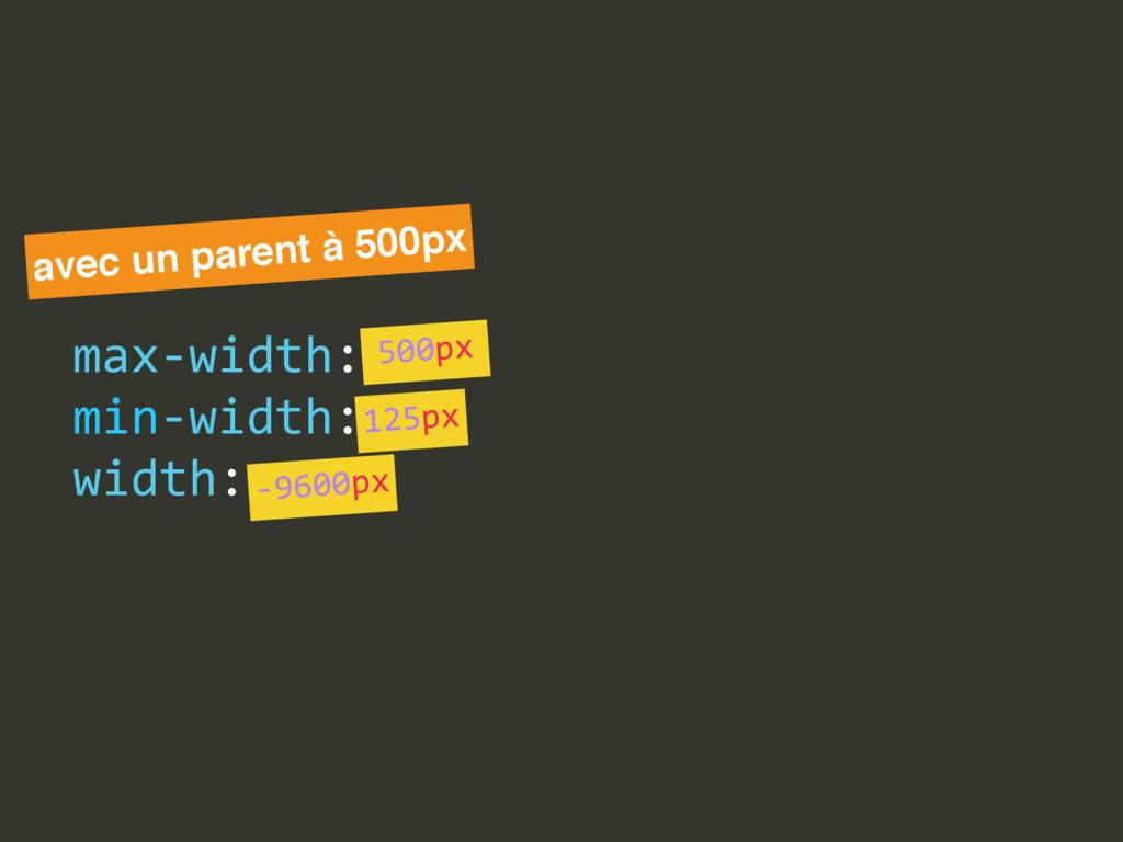 max-‐width:  min-‐width:  width: avec un pa...