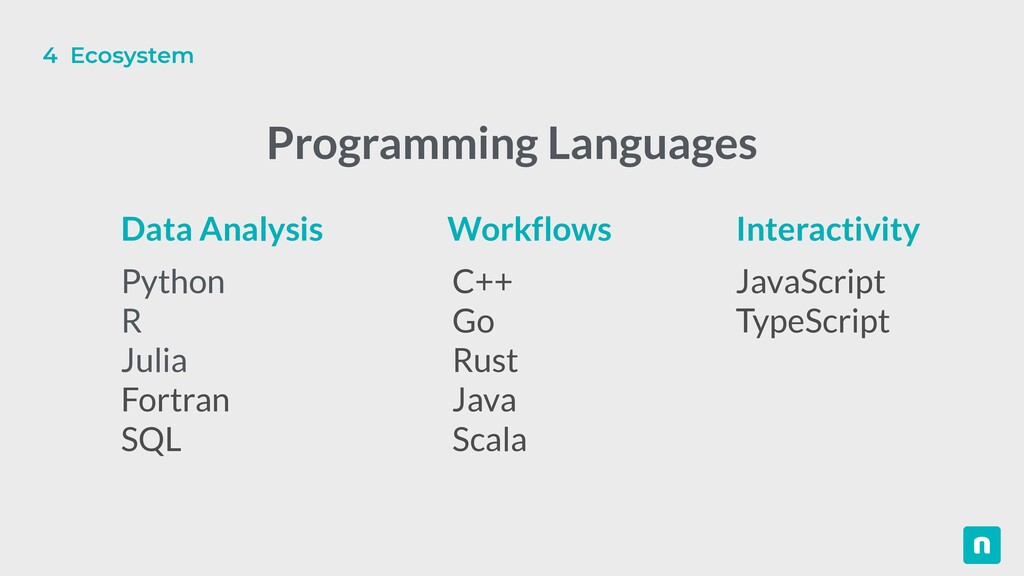 Python   R   Julia   Fortran   SQL C++   Go   R...