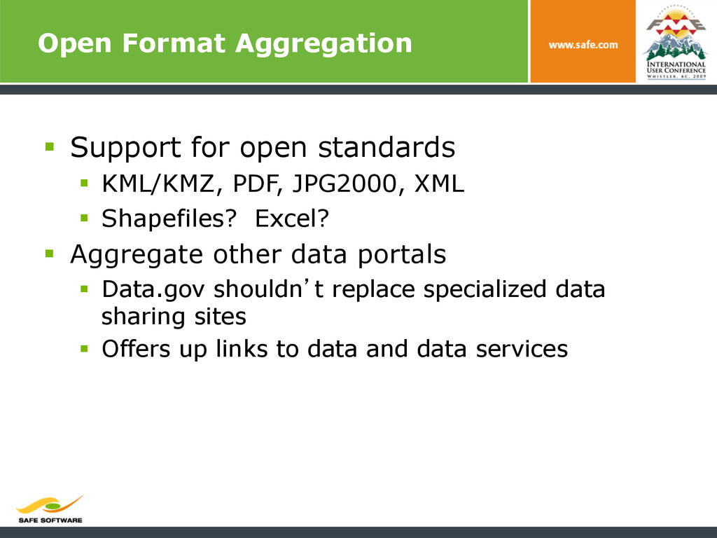 Open Format Aggregation § Support for open st...