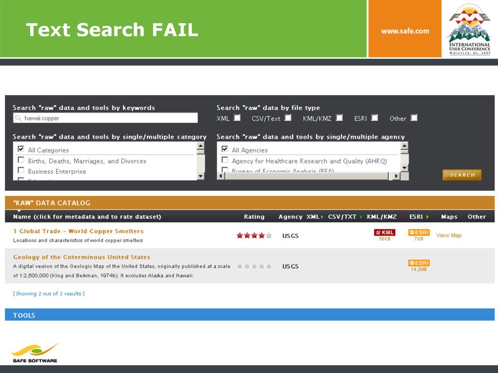 Text Search FAIL
