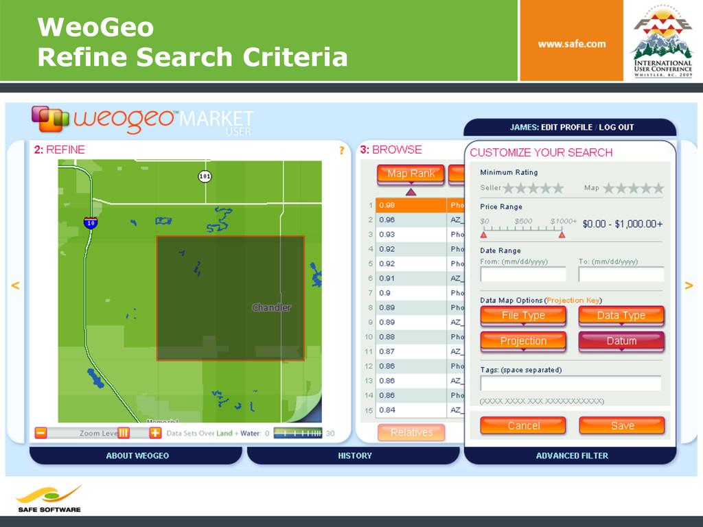 WeoGeo Refine Search Criteria
