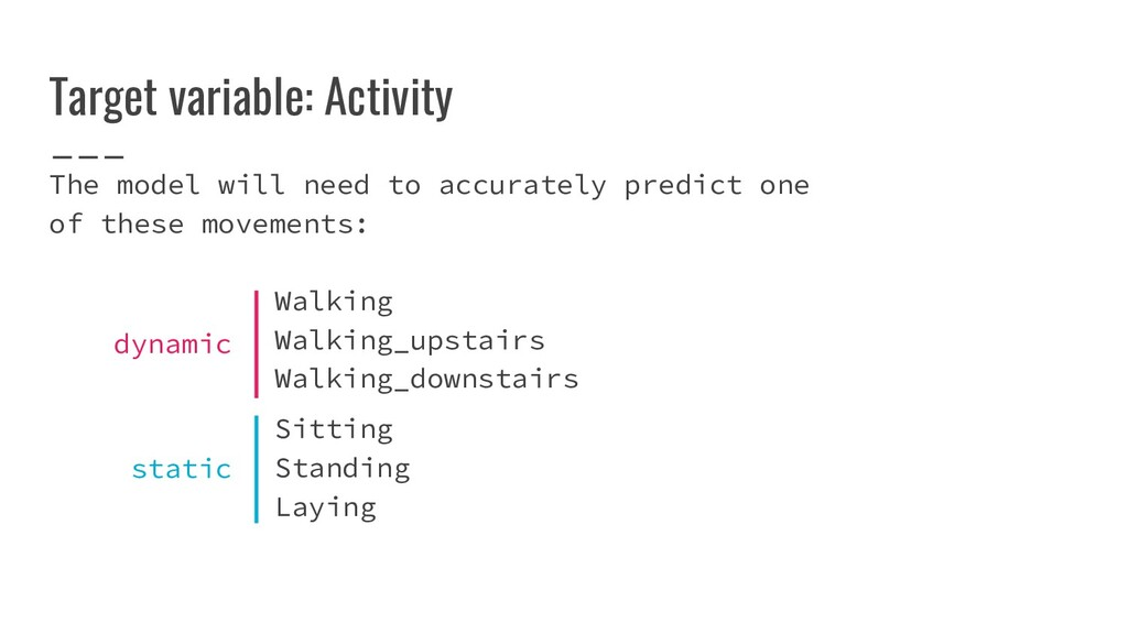 Target variable: Activity The model will need t...