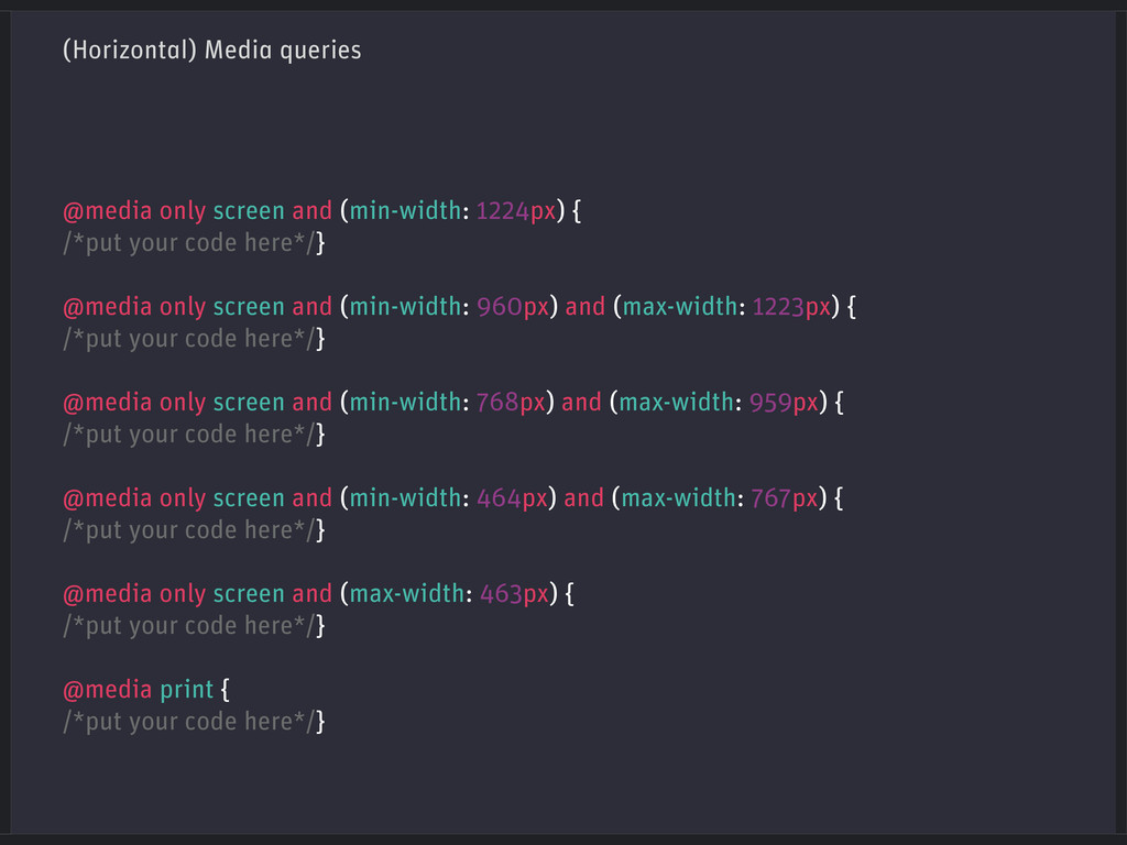 (Horizontal) Media queries @media only screen a...