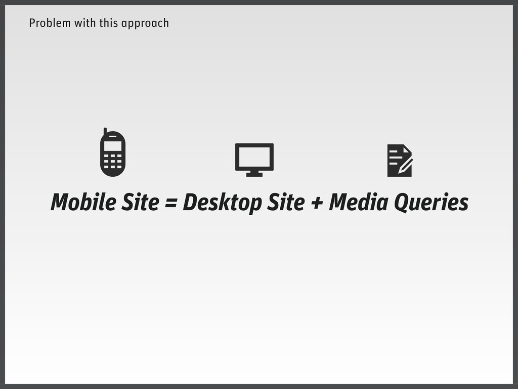 Problem with this approach Mobile Site = Deskto...