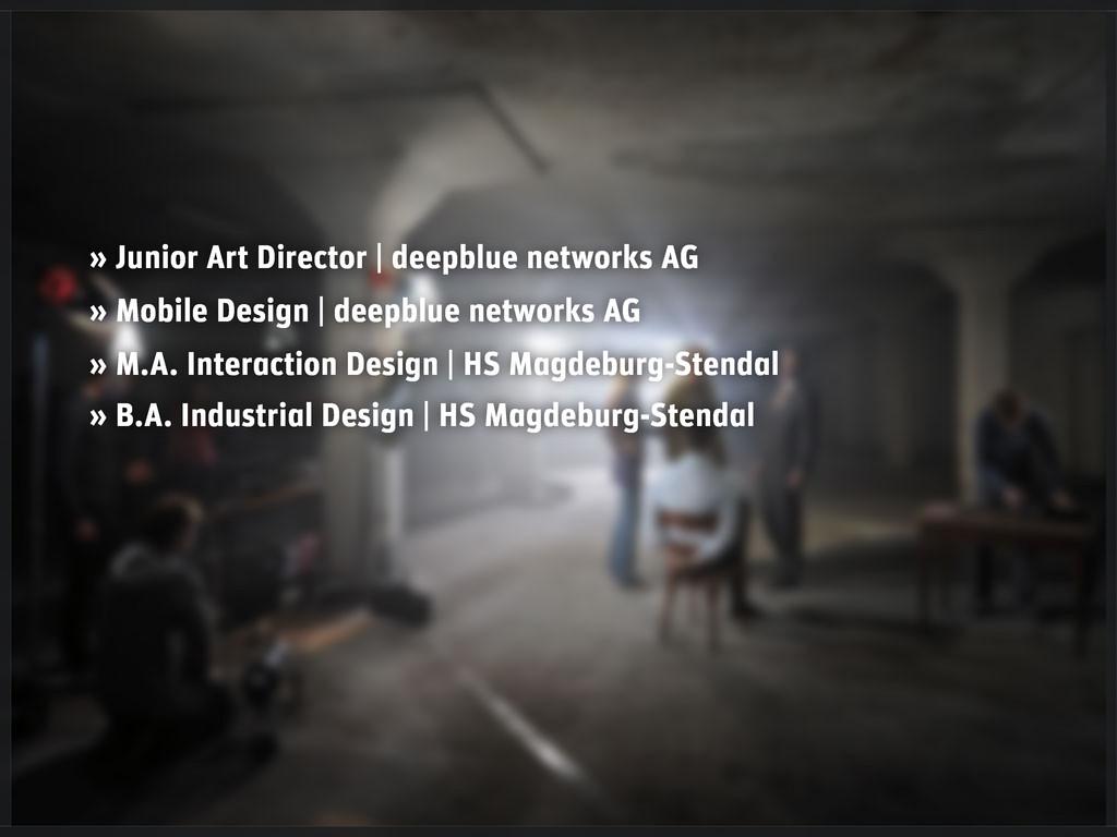 » Junior Art Director   deepblue networks AG » ...