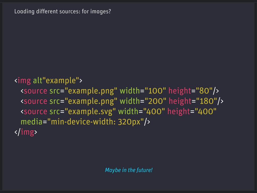 Loading different sources: for images? <img alt...