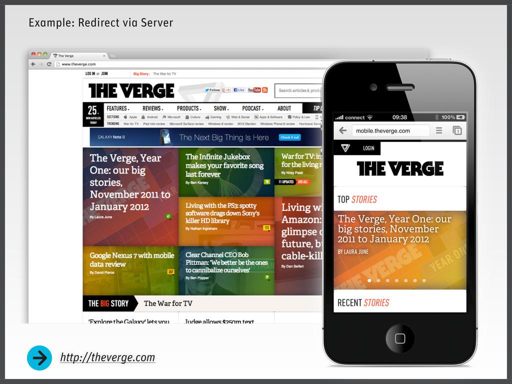 http://theverge.com Example: Redirect via Server