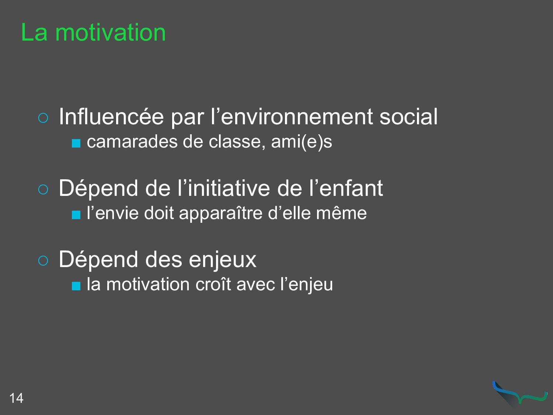 La motivation ○ Influencée par l'environnement ...