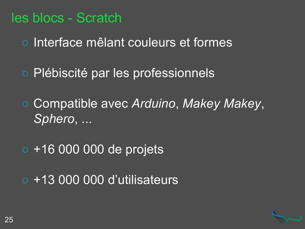 les blocs - Scratch 25 ○ Interface mêlant coule...