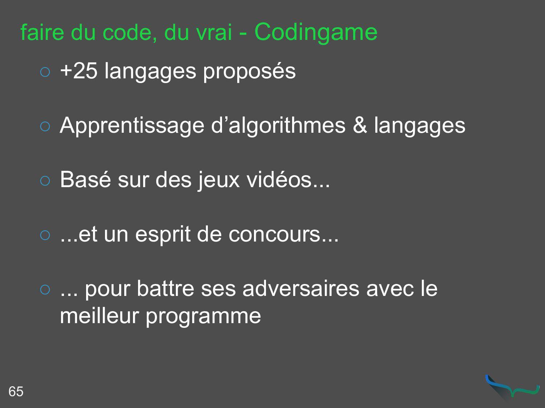 faire du code, du vrai - Codingame 65 ○ +25 lan...