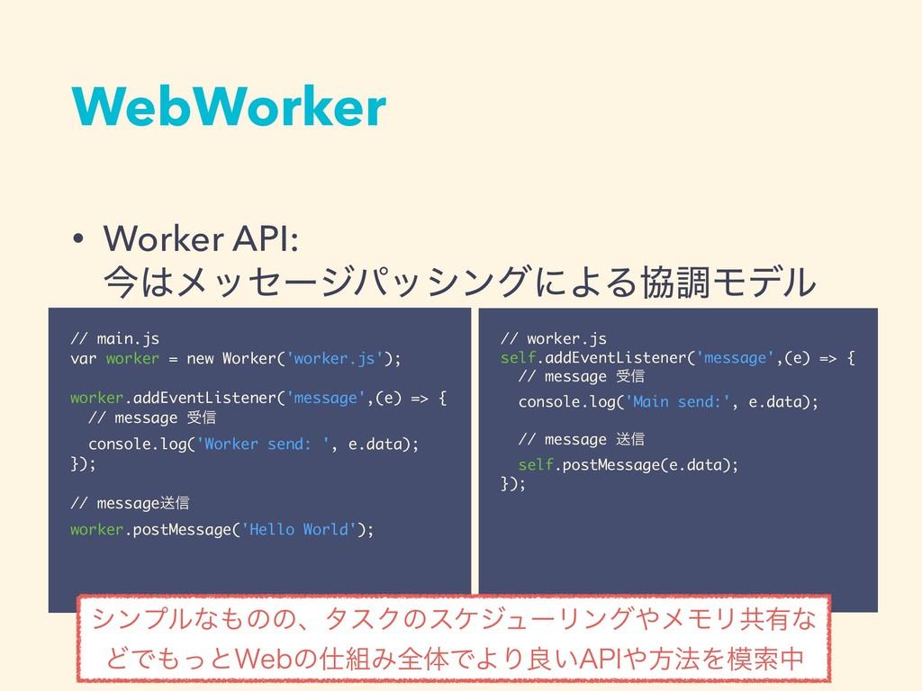 • Worker API:  ࠓϝοηʔδύογϯάʹΑΔڠௐϞσϧ WebWorker ...
